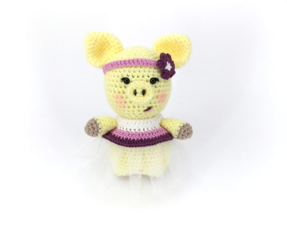 Crocheted Pig Lucky Piglet Toy Gift Ideas For Baby Yellow Piglet Pig Doll Gift For Pig Lover Peppa Pig Gift Ideas For Girl Pig Gifts