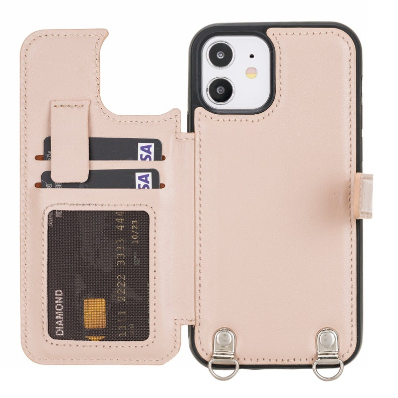 Venito Fermo Premium Leather Crossbody Wallet Case for iPhone 12 Pro Max Nude Pink 12 Mini iPhone 12 Pro iPhone 12