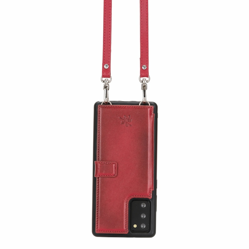 Burnt Red Note 20 Ultra Venito Fermo Premium Leather Crossbody Wallet Case for Samsung Galaxy Note 20
