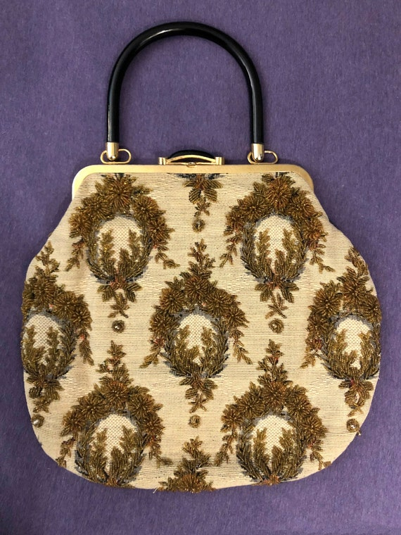 Vintage Tapestry Gold Bead Embroidered Bag 50s Luc