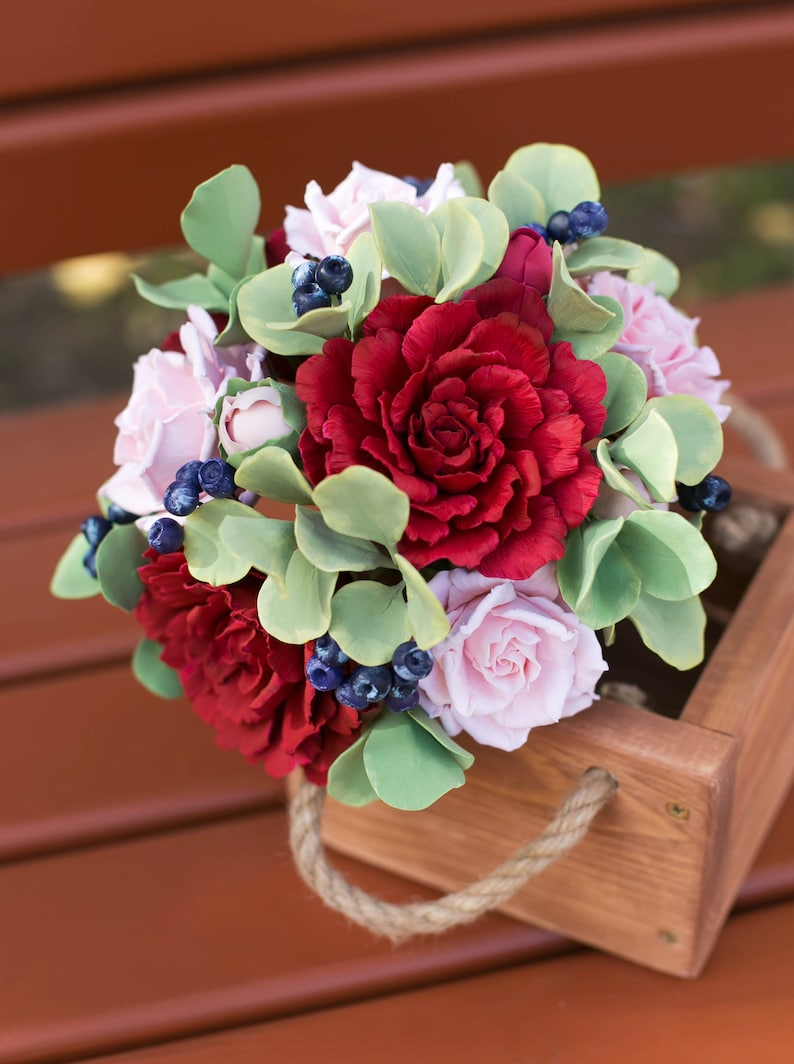 polymer clay stylish alternative bouquet Woodland artificial bouquet with burgundy peony and dusty rose