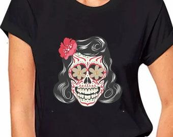 b259e50b3d5 Colorful Skull Shirt Sugar Skull Shirt Off Shoulder Tops T shirts Floral  Skull t shirt Day of the Dead Gift shirt Skull Shirt skeleton shirt