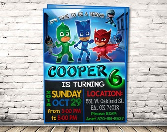 Pj Masks Invitation Birthday Party Superheroes Superhero Hero Mask Personalized Printable Digital File