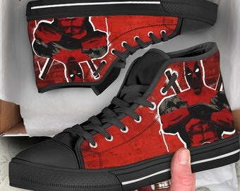 c55ae88ceea3 Deadpool costum canvas High top Shoes
