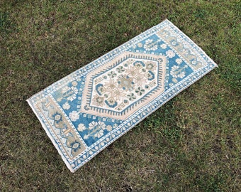 Oushak Small Runner Rug Pastel Color Purple Small Carpet Vintage Hand-Woven Small Rug Door Mat 52x106 cm, TURKISH SMALL RUG 1.7x3.4 ft