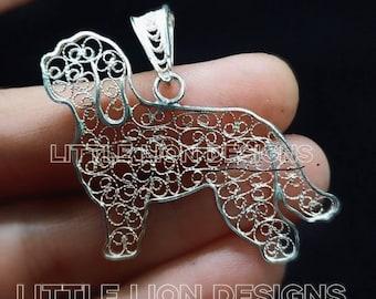 Barbet handmade sterling silver pendant (/brooch pin filigree run show dog pet gift little lion design))/