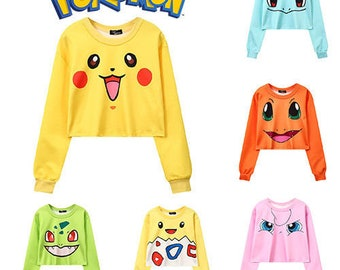 3f5c38ceecbba Pokemon Crop Sweatshirt Cropped Top Jumper Tee T-Shirt Fashion Womens  Pikachu Bulbasaur Squirtle Charmander Togepi Jigglypuff Kawaii Anime
