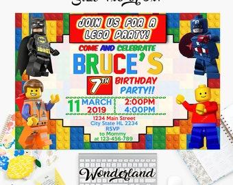 Lego Invitation Birthday Party Card Printable Invite Invitations Boy