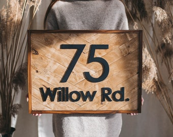 Framed House numbers sign horizontal number Vertical, Square custom house signs wood different shapes