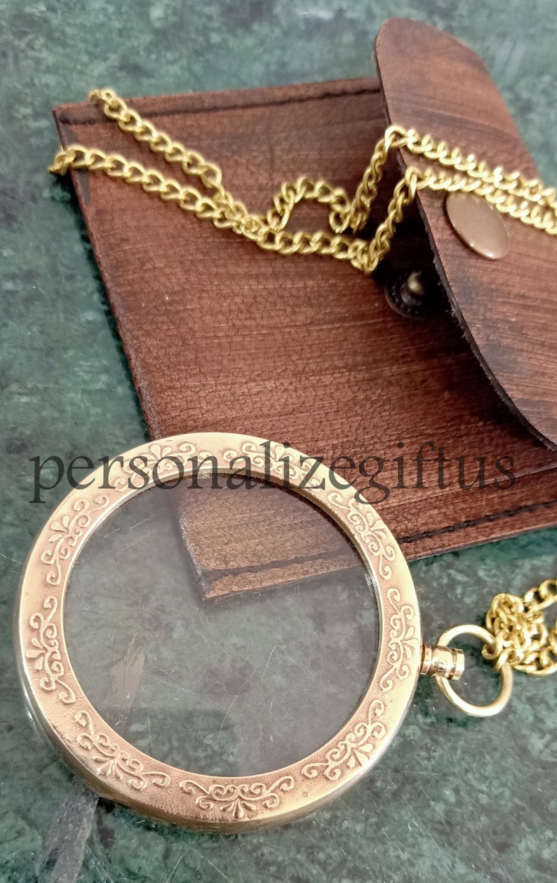 with Leather Case Victorian Style Reading Magnifier. pendent magnifier necklace with leather case Antique Inspired Brass Magnifying Glass