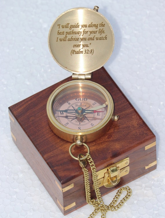 Antique Handmade Pocket Brass Nautical Sundial Engraved Sundial Compass RI