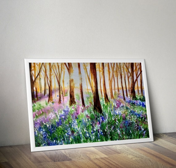 "BLUEBELL FOREST  PICTURE CANVAS WALL ART /""20X30/"""
