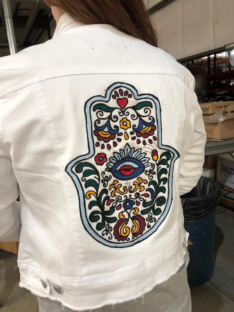 2d3625148a8 Chaninstitched Embroidered Hamsa Denim Jacket One of a Kind XL
