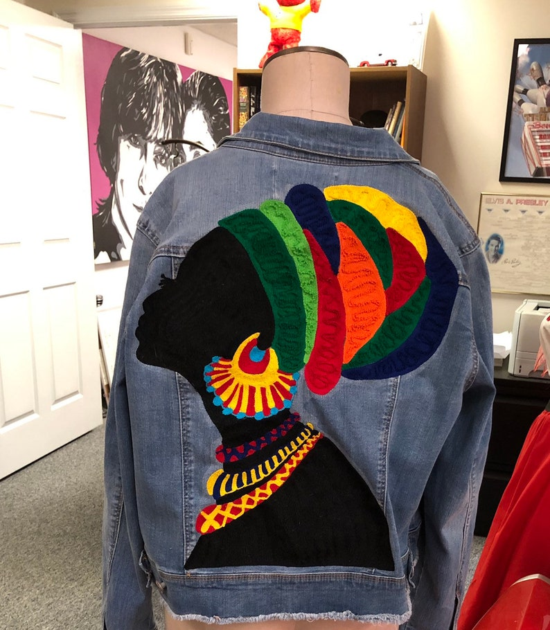 3ad1665c0e9 Chaninstitched Embroidered African woman Denim Jacket One of