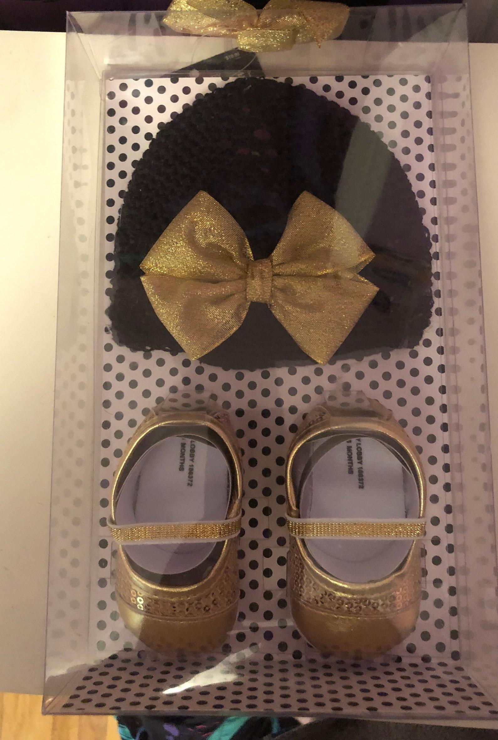 gold ballet shoe & hat