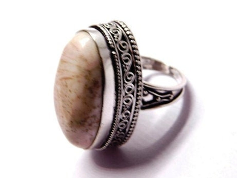 Scolecite Ring Sterling Silver Ring Gift for Her Statement Ring jewelry Ring boho jewelry, Fashion Ring-Handmade Ring-partywear ring