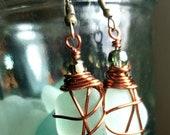 Sea glass earrings,Copper earrings,Wire wrap sea glass, wire wrap earrings,Green earrings,Crystal earrings,Green sea glass,Copper wire