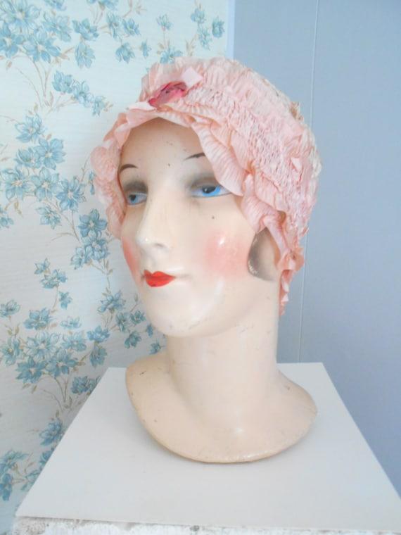 Pretty 1920s Peach Silk Night Cap