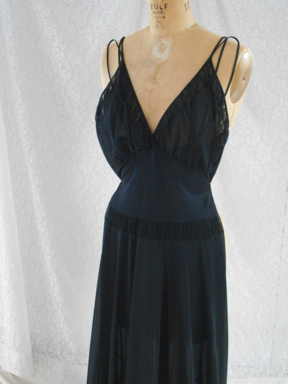 Sexy 1960's Black Nylon Night Gown with Accordian