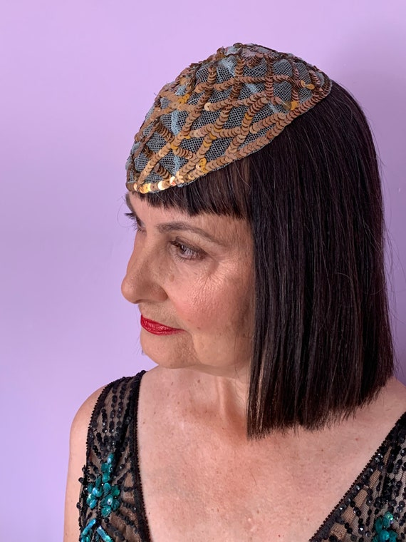 1920's Skull Cap with Blue Netting and Gold Sequi… - image 2