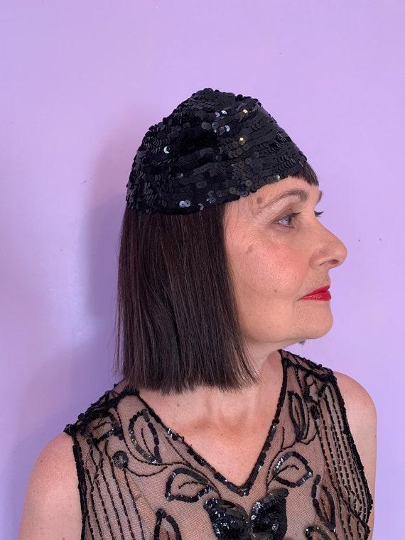 1920's Black Sequin Skull Cap - image 1