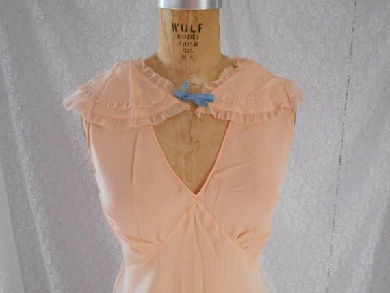 """1930's Pure Silk/Crepe Peach Night Gown - """"Trillco"""