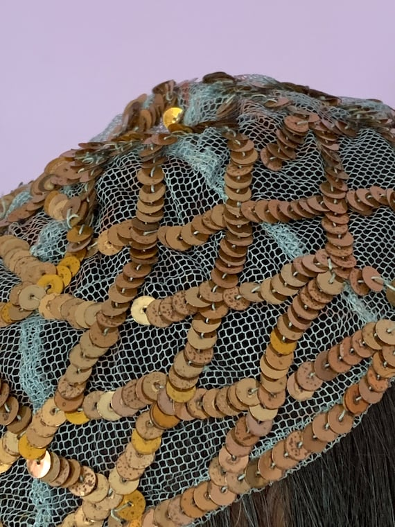 1920's Skull Cap with Blue Netting and Gold Sequi… - image 4