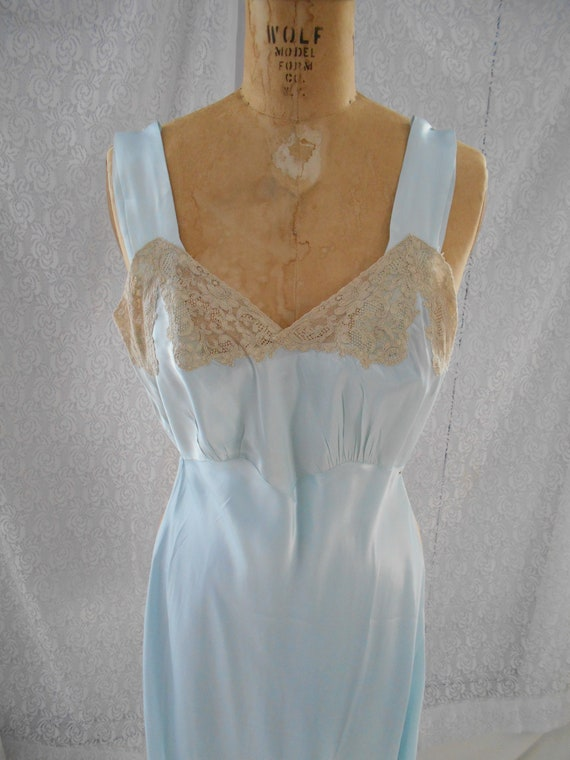 """1930's Pale Ice Blue Satin Lace Night Gown by """"Tex"""