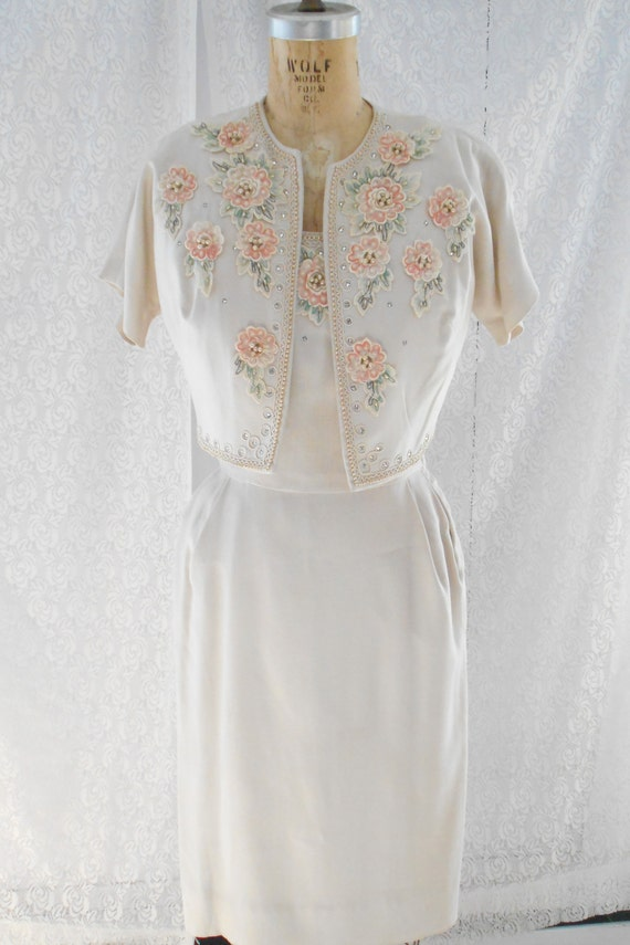 Pretty 1940's Dress/Bolero with Embroidered Flower