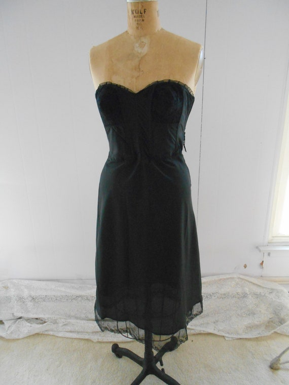 1950's Black Bullet Bra/Bustier and Slip/Petticoat