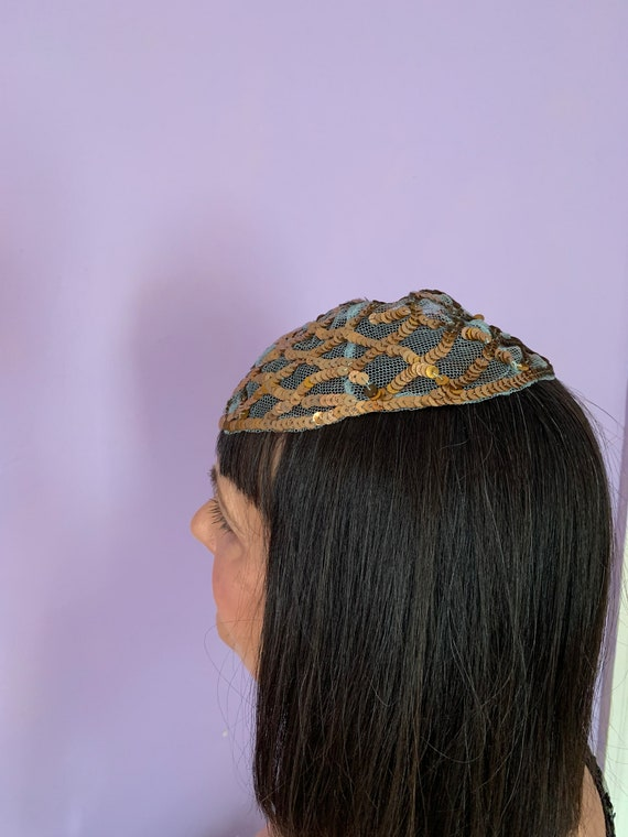 1920's Skull Cap with Blue Netting and Gold Sequi… - image 5