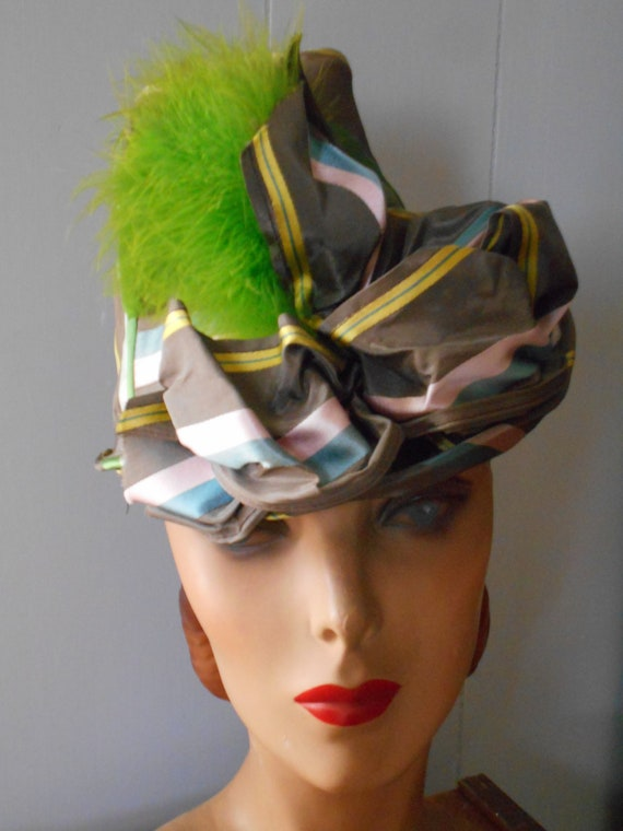 Awesome 1940s Taffeta Tilt Hat with Green Feather