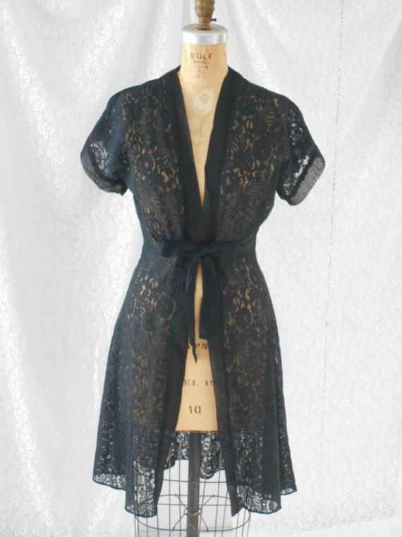 1940's Black Lace Duster/Robe