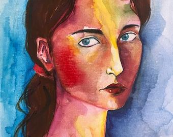 Ritratto in acquarello, donna, blu