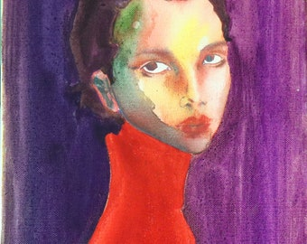 Lady in Red, watercolor painting, portrait