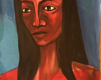 Girl in deep blue, portrait, black woman, acrylic
