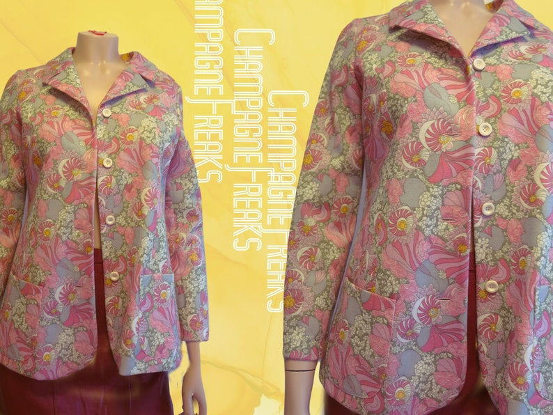Colorful 70s vintage woman\u2019s jacket with floral print hippie style