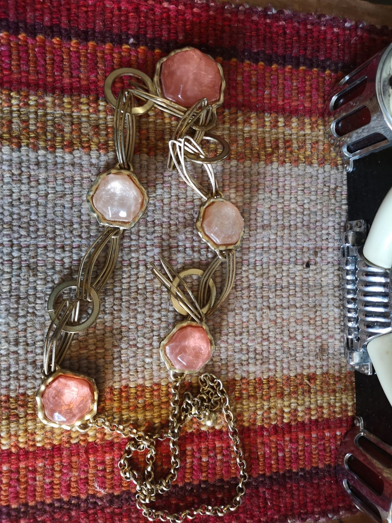 Vintage metal and blush pink  statement necklace.
