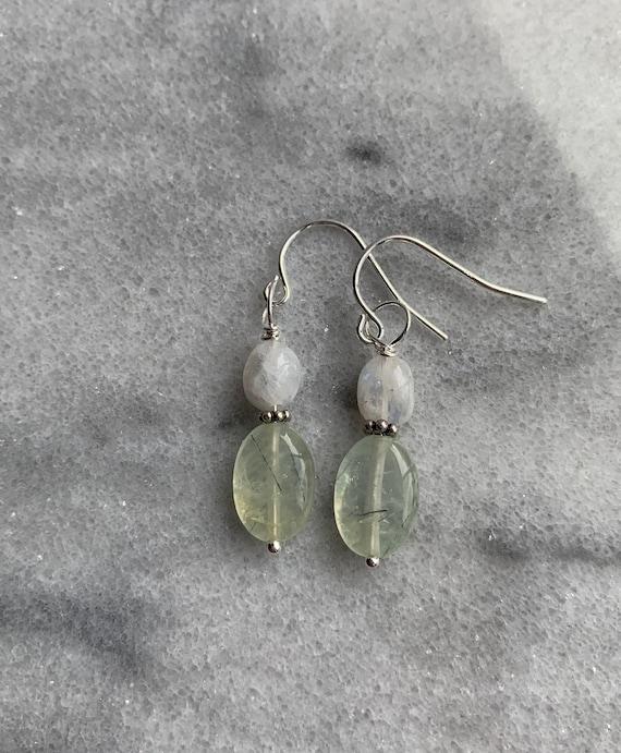 Faceted Blue Moonstone Gems Prehnite Teardrop Gemstones Prehnite Rainbow Moonstone Earrings Oxidized Sterling Silver Dangle Earrings