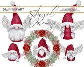 Christmas PNG, Angel Gnome Clipart, Scandinavian Gnomes Clipart, Nordic Gnomes Clip Art, Tomte Nisse Illustration, Graphic Design Elements