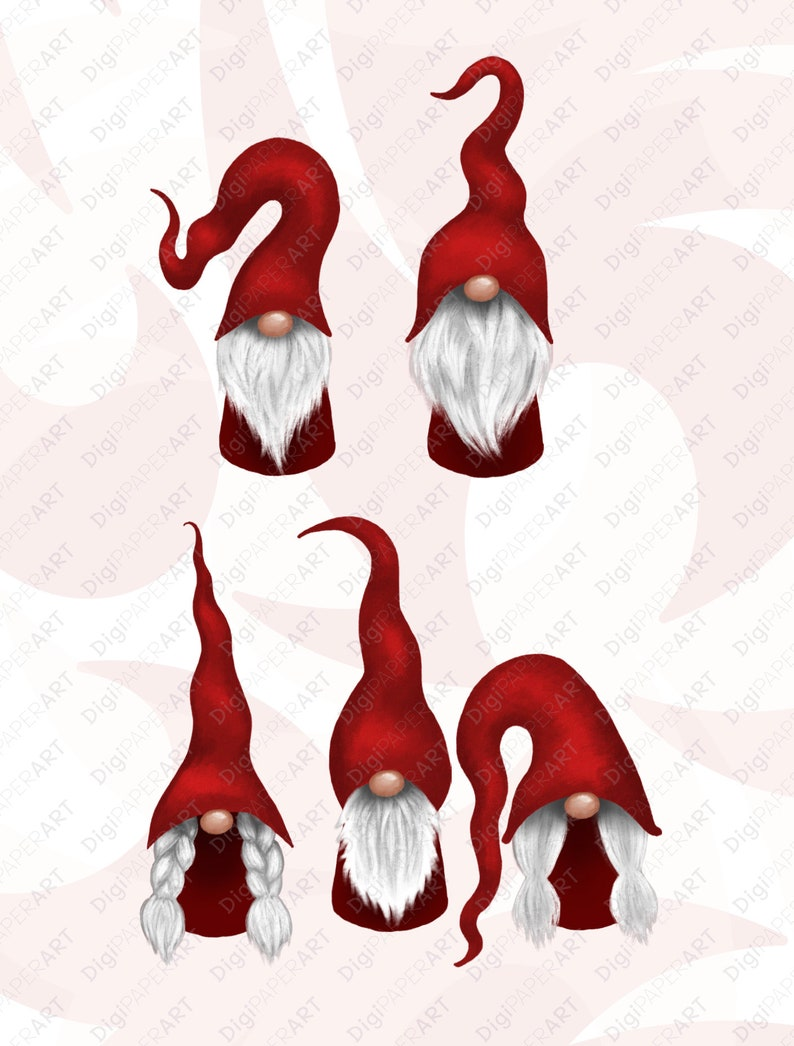 Nordic Gnomes Clip Art Scandinavian Christmas Gnomes Clipart Bundle Christmas PNG Design Elements Tomte Graphic Decoration