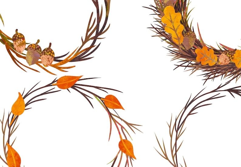 Forest Wreath Clip Art Thanksgiving Twig Wreath PNG Autumn Leaves Wreath Clip Art Watercolor Fall Clipart Wreath Frame Clipart