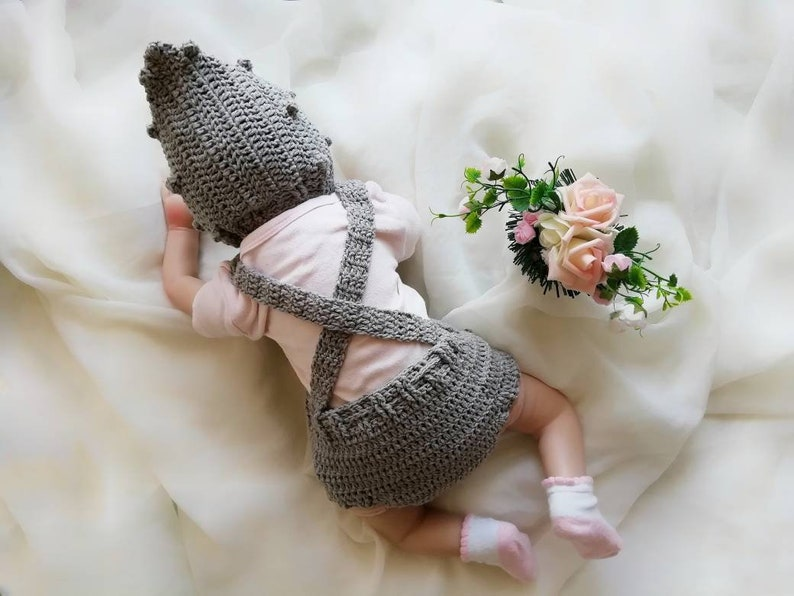 Newborn boy romper newborn photo prop toddler girl clothes baby bonnet baby boy clothes Easter outfit toddler shorts baby pixie bonnet