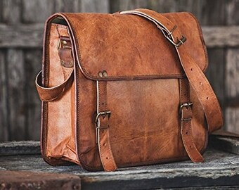 8645a0d766256 13/15/16/18 inches Handmadecart Men's Auth Real Leather Messenger Bags  Laptop Briefcase Satchel Mens Bag