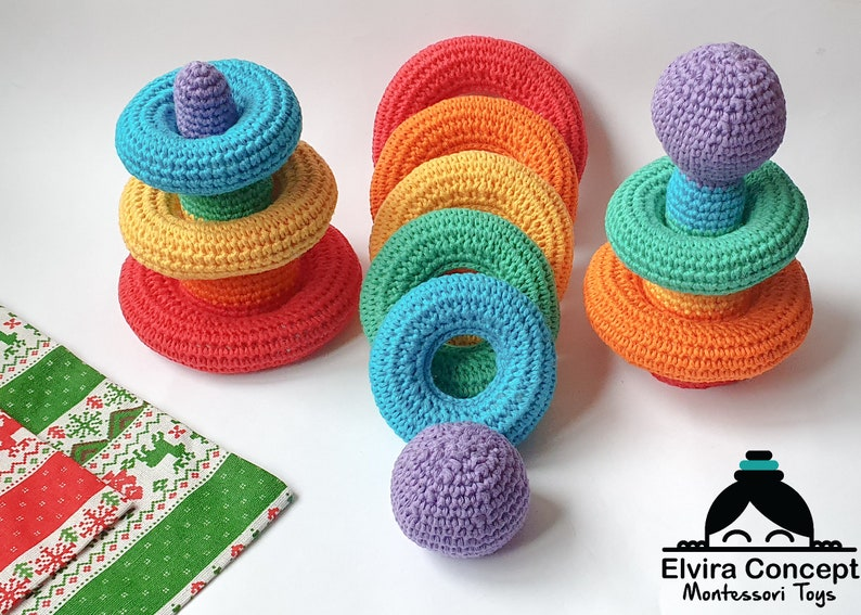 Crochet rainbow stacking toy Pattern Sorting toy pattern image 1