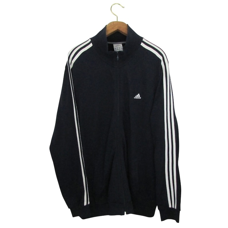 Details about Vintage Adidas Track Jacket Mens Large Green Black White Zip Up XL Extra large