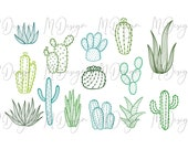Green Cactus Bundle SVG Cutting File for Cricut,Silhouette Cameo - Cactus Clipart Outline for Customizing T Shirts, Mugs, Tumblers
