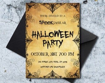 Vintage Halloween Party Invitation Template with Bats and Spider Web Decoration - Printable, Editable, Digital Download - Spooktacular Card
