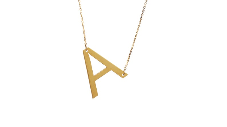 Large Initial Necklace Alphabet Necklace Bridesmaid Gifts Uppercase Letter Necklace Sideways Initial Necklace Uppercase Necklace