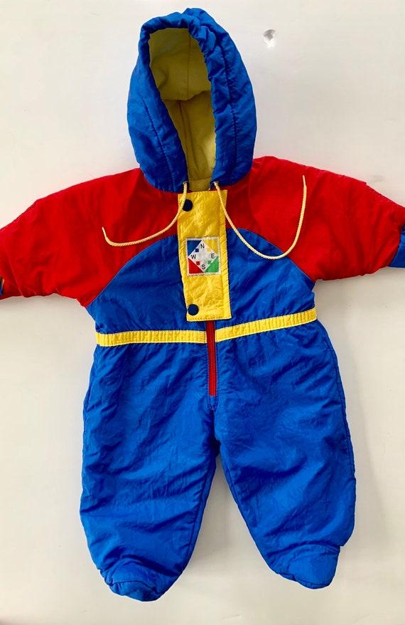 23c5dc46af52 Vintage Colorblock Compass Themed Snowsuit Baby Bunting size